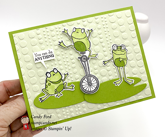 So Hoppy stamp set, Hop Around Framelits Die, and Dot to Dot embossing folder by Stampin' Up! Card made by Candy Ford #stampcandy