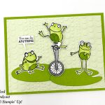 So Hoppy stamp set, Hop Around Framelits Die, and Dot to Dot embossing folder by Stampin