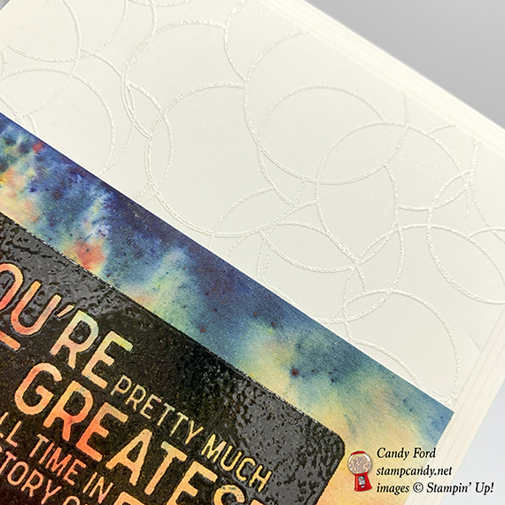 Calls for a Celebration stamp set, Brusho color crystals, heat embossing. Card made by Candy Ford for GDP176. Stampin' Up! #stampcandy