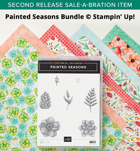 Painted Seasons bundle, stamp set and paper, 2nd release Sale-a-bration item 2019, Stampin' Up #stampcandy