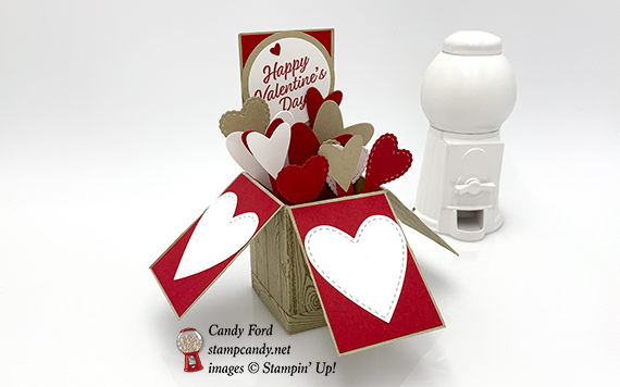 Exploding Box of Hearts Valentine Card