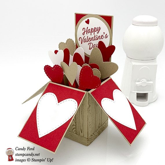 Valentine's Day card in a box made by Candy Ford using Meant to Be, Hardwood, and Forever Lovely stamp sets, and Be Mine Framelits Dies by Stampin' Up! #stampcandy