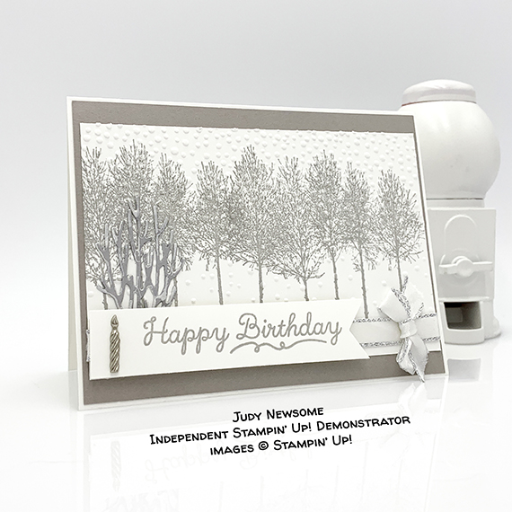 Happy Birthday card made by Judy Newsome using Winter Woods stamp set by Stampin' Up! #stampcandy