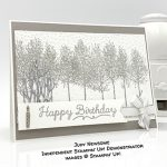 Happy Birthday card made by Judy Newsome using Winter Woods stamp set by Stampin