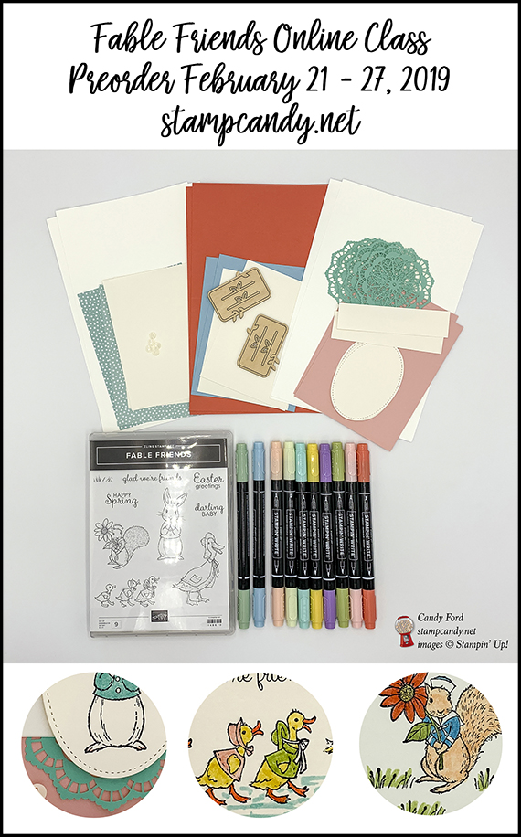 Fable Friends online class by Candy Ford. #stampcandy Stampin Up
