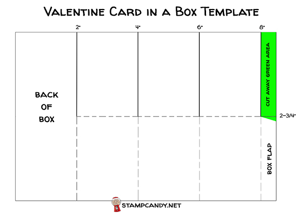 Valentine card in a box template by Candy Ford #stampcandy