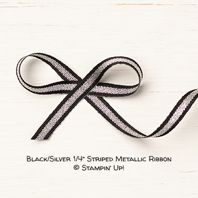 "Black/Silver 1/4"" Striped Metallic Ribbon © Stampin' Up!"