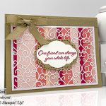 Flowing Fountain stamp set, Pretty Label Punch, Rose Trellis Thinlits Dies, and Delightfully Detailed Laser Cut paper from Stampin