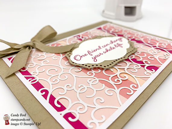 Flowing Fountain stamp set, Pretty Label Punch, Rose Trellis Thinlits Dies, and Delightfully Detailed Laser Cut paper from Stampin' Up! Card made by Candy Ford. #stampcandy