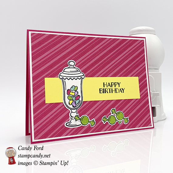 Sweetest Thing Bundle & How Sweet It Is paper from Stampin' Up! Happy Birthday Card made by Candy Ford #stampcandy