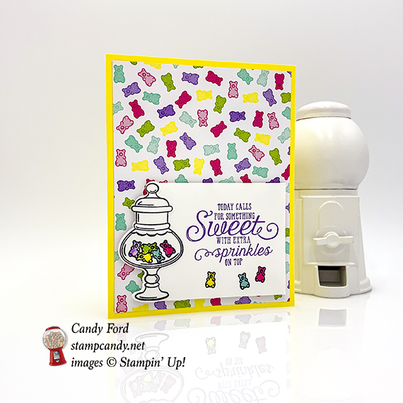 More Than Words stamp set, Sweetest Thing stamp set, Jar of Sweets Framelits Dies, How Sweet It Is Designer Series Paper from Stampin' Up! Card made by Candy Ford #stampcandy