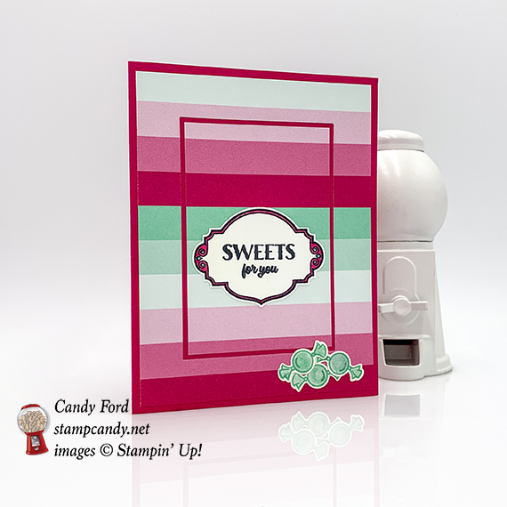Sweetest Thing stamp set, Jar of Sweets Framelits Dies, How Sweet It Is Designer Series Paper from Stampin' Up! Card made by Candy Ford #stampcandy