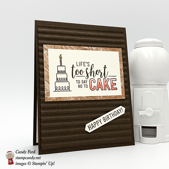 Amazing Life stamp set, Corrugated dynamic embossing folder, Copper Tin, from Stampin' Up! Birthday card and tin made by Candy Ford. #stampcandy