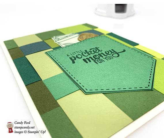Pocketful of Sunshine stamp set, Pocket Framelits Die from Stampin' Up! Woven cardstock card made by Candy Ford for the IRBH green theme #stampcandy