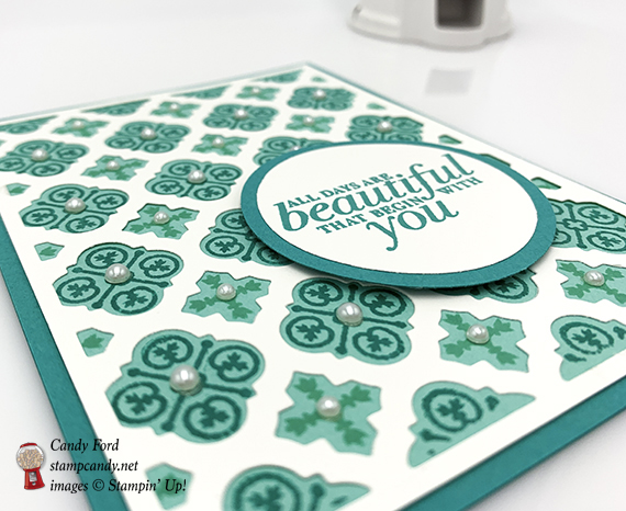 card made by Candy Ford using the Florentine Filigree stamp set, Florentine Thinlits Die, and Layering Circles Framelits Dies from Stampin' Up! #stampcandy