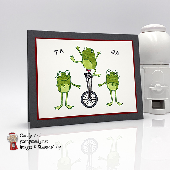 So Hoppy Together Sale-a-bration 2019 stamp set from Stampin' Up! Tada card made by Candy Ford using the Stamparatus mirror stamping technique. #stampcandy