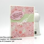 Humming Along stamp set, Pretty Label Punch, All My Loe paper from Stampin
