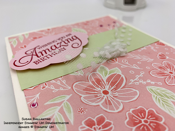 Humming Along stamp set, Pretty Label Punch, All My Loe paper from Stampin' Up! Birthday card made by Susan Ballantine. #stampcandy