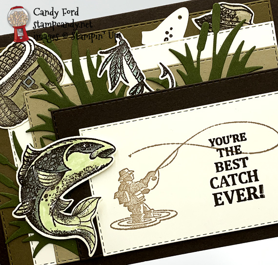 Stampin' Up! Best Catch masculine fishing card by Candy Ford of Stamp Candy