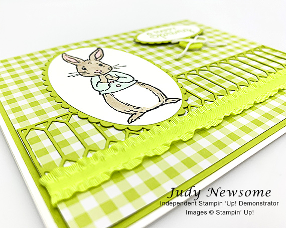 Stampin' Up! Fable Friends rabbit handmade card by Judy Newsome of Candy Hearts