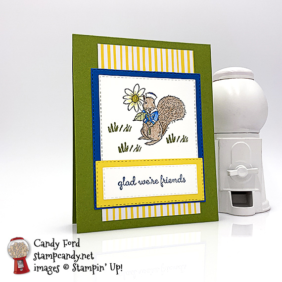 Stampin' Up! Fable Friends squirrel handmade card by Candy Ford of Stamp Candy