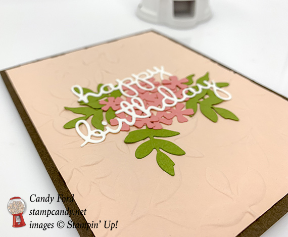 Candy Ford made this Happy Birthday card using the Well Written dies, Rose Trellis dies, Lovely Flowers Edgelits dies, and Layered Leaves Dynamic embossing folder from Stampin' Up! #stampcandy