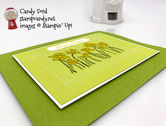 Stampin' Up! You're Inspiring handmade Happy Easter card featuring daffodils by Candy Ford of Stamp Candy