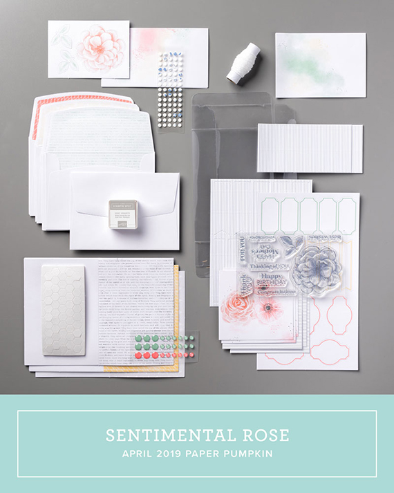 April 2019 Paper Pumpkin kit, Sentimental Rose, Stampin' Up! #stampcandy
