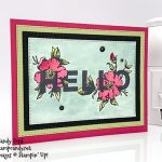 watercolor Hello card made with the Floral Statement stamp set and Rectangle Stitched Framelits Dies from Stampin
