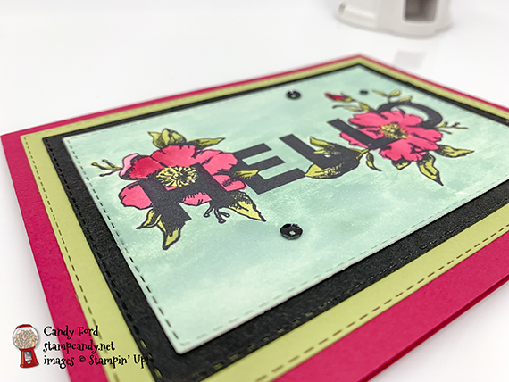 watercolor Hello card made with the Floral Statement stamp set and Rectangle Stitched Framelits Dies from Stampin' Up! #stampcandy