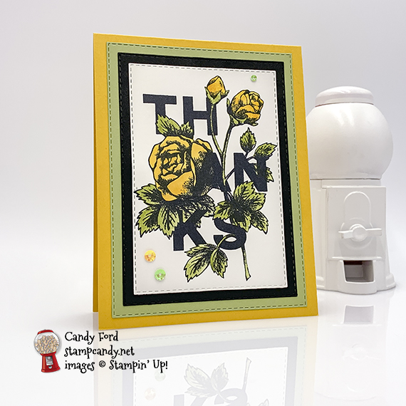 Thank you watercolor card made by Candy Ford using the Floral Statements stamp set and Rectangle Stitched Framelits Dies from Stampin' Up! #stampcandy