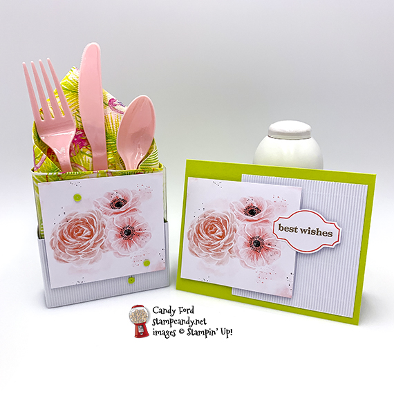 Sentimental Rose April kit for the A Paper Pumpkin Thing Blog Hop. Alternate projects made by Candy Ford - card and naapkin/flatware holder for a wedding shower. #stampcandy