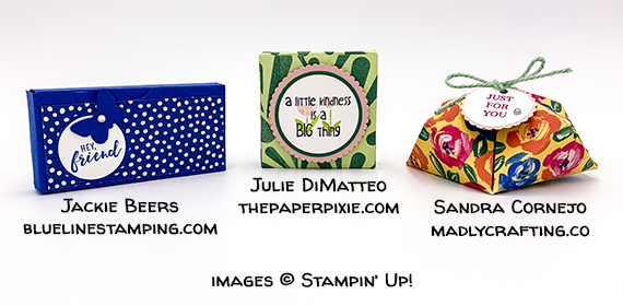 gifts from Charlotte OnStage made by Jackie Beers, Julie Dimatteo, and Sandra Cornejo #stampinup