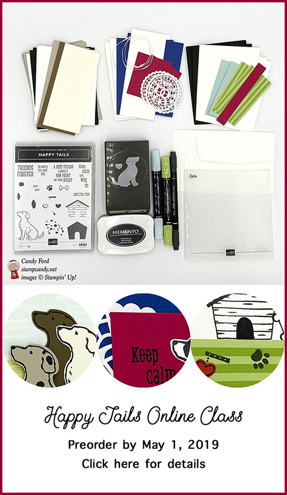 Happy Tails Online Card Class using the Happy Tails stamp set and Dog Builder Punch from Stampin' Up! #stampcandy