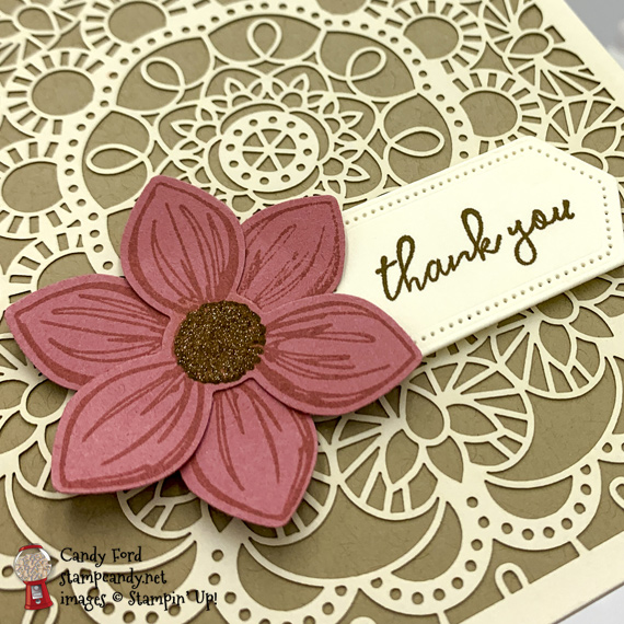 Sneak Peek Stampin' Up! Floral Essence laser cut DSP handmade card by Candy Ford of Stamp Candy