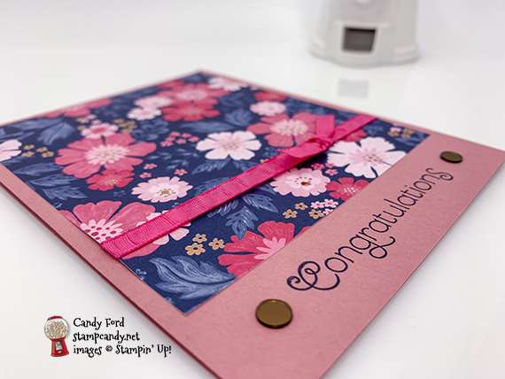 Everything is Rosy (limited edition product medley - only available in May 2019) handmade congratulations card made by Candy Ford of Stamp Candy