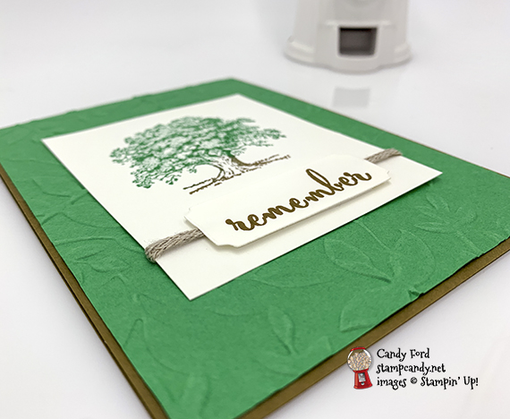 Lovely As a Tree stamp set, Make a Difference stamp set, Layered Leaves embossing folder by Stampin' Up! for the Inking Royalty Remember Blog Hop (IRBH.) Card made by Candy Ford #stampcandy