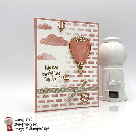 Stampin' Up! Above The Clouds bundle with Hot Air Balloon Punch handmade card with sponged bricks by Candy Ford of Stamp Candy