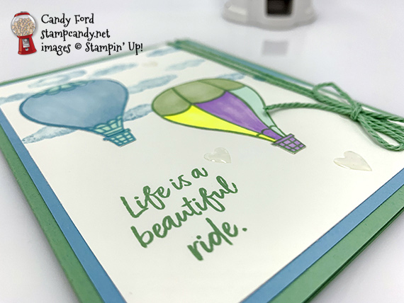 "Stampin' Up! Above The Clouds Hot Air Balloons ""Life is a Beautiful Ride"" handmade card by Candy Ford of Stamp Candy"