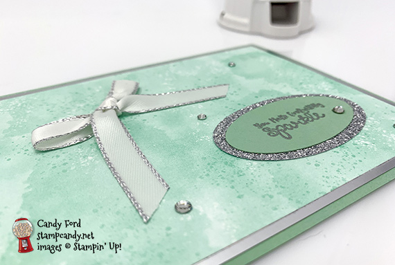 Stampin' Up! It Starts With Art Silver Metallic Edge Ribbon Sparkle oval handmade card by Candy Ford of Stamp Candy