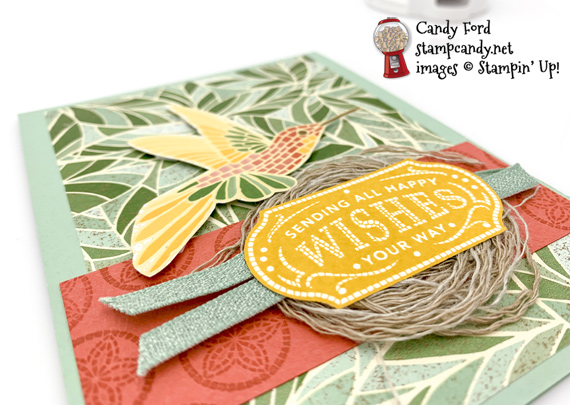 Stampin' Up! Memorable Mosaic bundle and mosaic mood DSP handmade humming bird nest card by Candy Ford of Stamp Candy