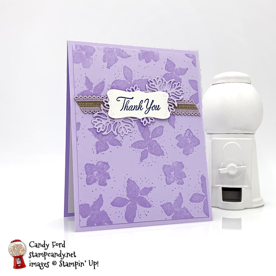 Stampin' Up! Parcels & Petals bundle handmade thank you card by Candy Ford of Stamp Candy