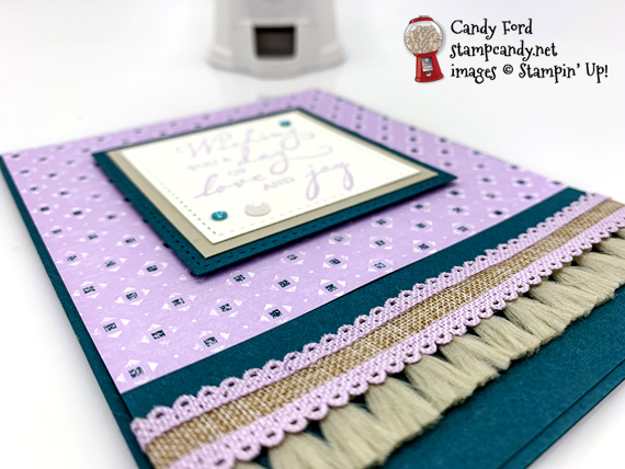 Stampin' Up! Woven Heirlooms stamp set and Woven Threads DSP, Scalloped Linen Ribbon handmade card by Candy Ford of Stamp Candy