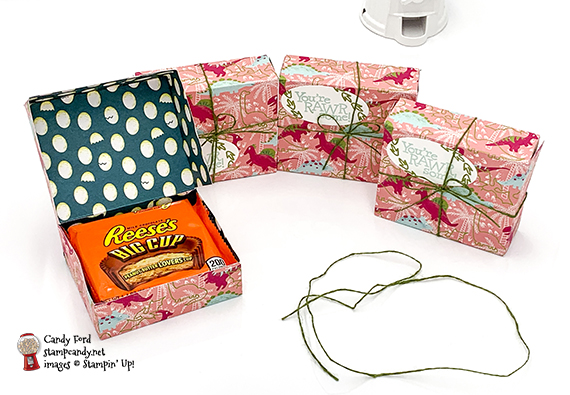 treat boxes that hold a Reese's Big Cup, made with Dinoroar Designer Series Paper, Dino Days Stamp Set, twine from Magnolia Lane Ribbon Combo Pack, and Layering Ovals Dies from Stampin' Up! #stampcandy