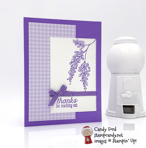 Stampin' Up! Soft Spring Host Set & Stitched Rectangle Dies were used to make this handmade card by Candy Ford of Stamp Candy
