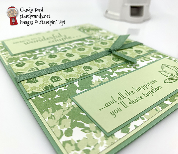 Stampin' Up! Verdant Garden stamp set and Garden Lane DSP were used to make this handmade wedding card by Candy Ford of Stamp Candy