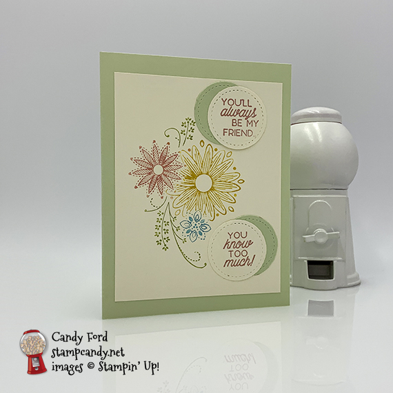 Friend card made by Candy Ford using the A Little Lace stamp set and Stitched Shapes Dies from Stampin' Up! #stampcandy