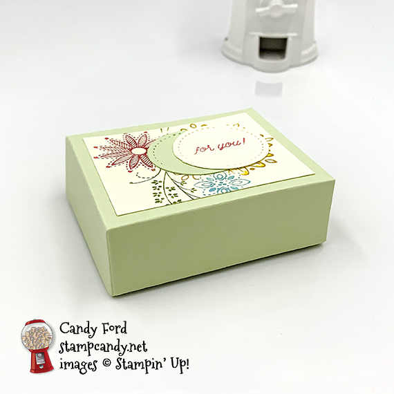 Friend card and treat box made by Candy Ford using the A Little Lace stamp set and Stitched Shapes Dies from Stampin' Up! #stampcandy