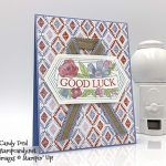 good luck card made by Candy Ford using the Believe You Can host stamp set, Woven Threads Designer Series Paper, stitched Nested Labels Dies, and Seaside Spray Linen Ribbon from Stampin