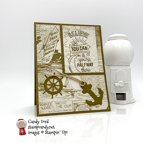 Sailing Home stamp set, Smooth Sailing Dies, and Come Sail Away Designer Series Paper by Stampin' Up! Card made by Candy Ford of #stampcandy